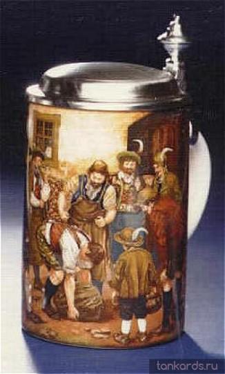 Кружка для пива с крышкой с изображением сцен сельской жизни