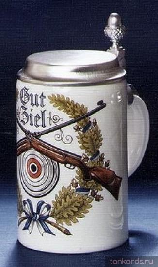 Немецкая пивная кружка с крышкой для охотника с изображением мишени и ружей