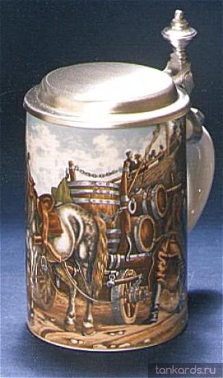 Кружка с оловянной крышкой из Германии, коллекционная. C изображением повозки с лошадью