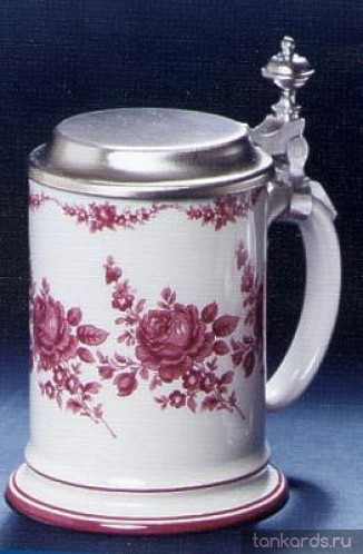 Немецкая кружка с оловянной крышкой и изображением пурпурной розы