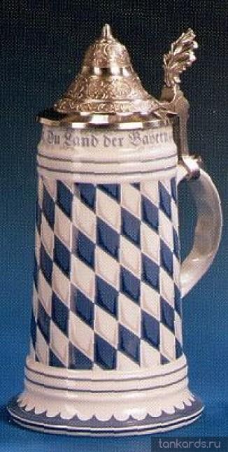 Немецкая керамическая пивная кружка с крышкой и утолщенным дном с символикой флага Баварии