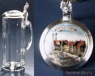 Немецкая кружка из стекла с изображением Мюнхена