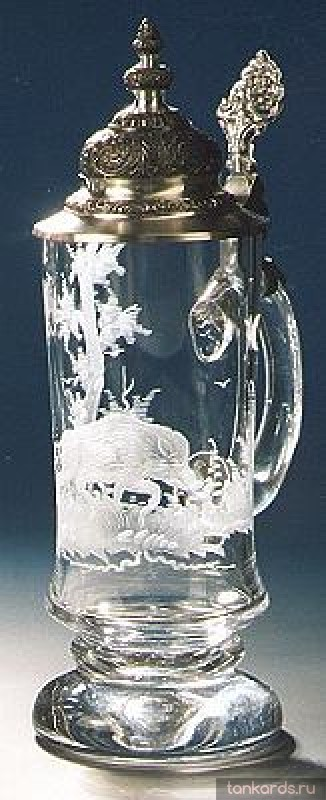 Уникальная хрустальная подарочная пивная кружка с гравировкой природы