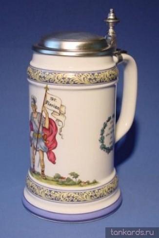 Керамическая литровая кружка с крышкой и изображением Св.Флориана