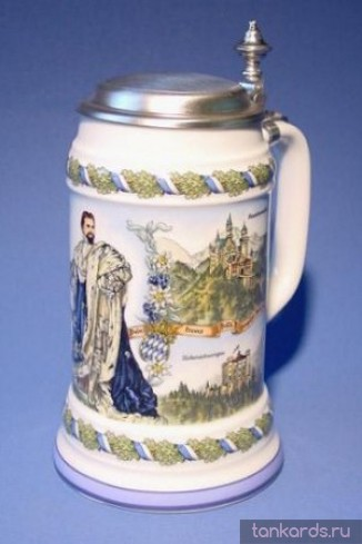 Немецкая керамическая литровая пивная кружка с крышкой и изображением короля Баварии Людвига II