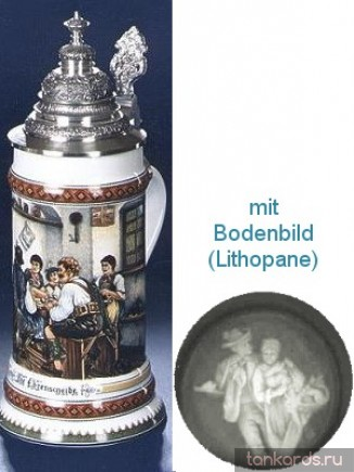 Литровая пивная кружка с конусовидной крышкой, полупрозрачным дном и изображением сценки из жизни