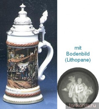 Немецкая литровая фарфоровая  кружка с конусовидной крышкой, полупрозрачным дном и картиной свадьбы