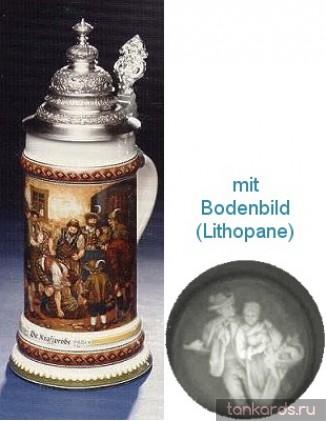Немецкая литровая фарфоровая пивная кружка с конусовидной крышкой, полупрозрачным дном и изображением людей