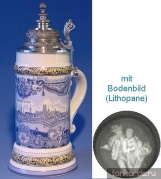 Литровая пивная кружка с полупрозрачным дном и изображением Мюнхена 1757 в синих тонах.
