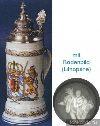 Кружка с крышкой, полупрозрачным дном и рисунком герба Королевства Бавария 1806 года