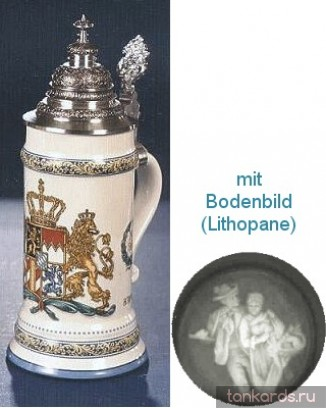 Кружка с крышкой, полупрозрачным дном и рисунком герба Королевства Бавария 1794 года