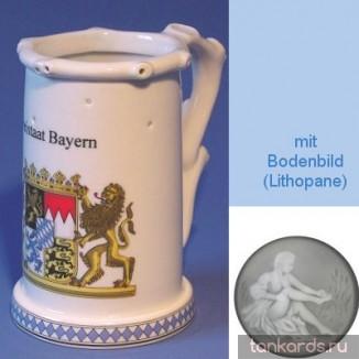 Немецкая пивная кружка (кувшин Гауди) с изображением герба Свободного государства Баварии