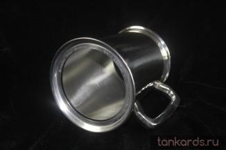 Оловянная пивная кружка со стеклянным дном