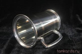 Пивная кружка со стеклянным дном из олова