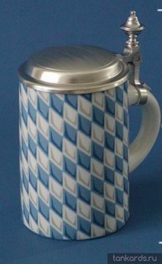 Немецкая коллекционная керамическая пивная кружка с крышкой и изображением флага Баварии