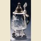 Стеклянная пивная кружка с крышкой в форме бокала с изображением дикой утки