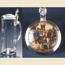 Стеклянная пивная кружка с необыкновенной крышкой с изображением сельской жизни