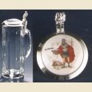 Кружка из стекла с изображением Св. Флориана на крышке