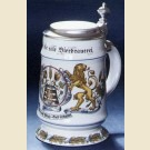Пивная кружка с оловянной крышкой и изображением хмеля и солода