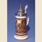 Немецкая пивная фарфоровая с устойчивым дном, куполообразной крышкой и изображением уличной сценки