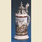 Фарфоровая кружка с устойчивым дном, куполообразной крышкой и изображением приданого невесты