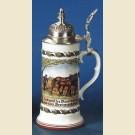 Пивная кружка с устойчивым дном, куполообразной крышкой и изображением пахаря за конным плугом