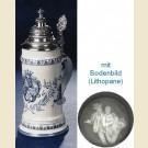 Фарфоровая пивная кружка с крышкой, полупрозрачным дном и рисунком баварского герба в голубых тонах