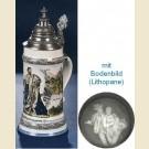 Немецкая литровая фарфоровая пивная кружка с крышкой, полупрозрачным дном и изображением короля Баварии Людвига II