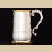 Английская оловянная пивная кружка с латунной отделкой