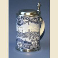 Коллекционная керамическая пивная кружка с изображением картины Мюнхена (Munchen) 1757 года