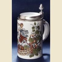 Коллекционная немецкая пивная кружка из керамики с изображением хмеля