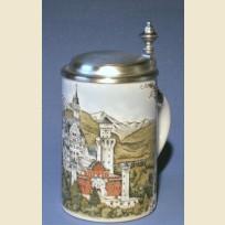 Коллекционная немецкая пивная кружка с изображением замка Нойшванштайн