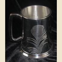 Оловянная пивная кружка с изображением, гравировкой пера