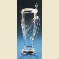 Немецкий стеклянный пивной стакан с крышкой и ручкой
