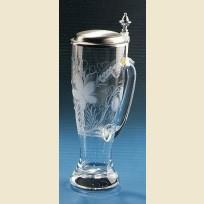 Стеклянный пивной стакан с ручкой и крышкой