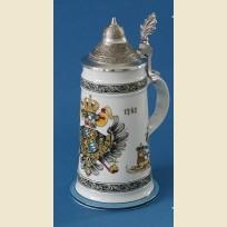 Немецкая керамическая пивная кружка с крышкой и изображением герба с орлом