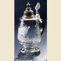 Кружка из стекла с крышкой и изображением оленя