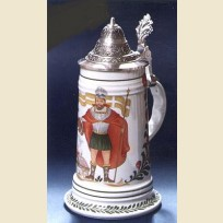 Немецкая керамическая пивная кружка с крышкой и изображением Св. Флориана.
