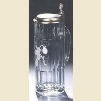 Стеклянная пивная кружка с оловянной крышкой с изображением хмеля