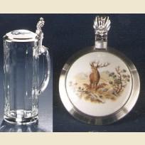 Пивная кружка из стекла с крышкой с изображением оленя