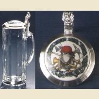 Граненая стеклянная пивная кружка с оловянной крышкой с рисунком