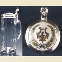 Пивная кружка из стекла с изображением на крышке: арфа и ноты