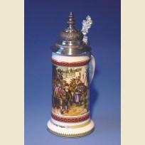 Немецкая пивная кружка с устойчивым дном, куполообразной крышкой и изображением народного ополчения