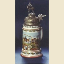 Коллекционная немецкая полковая пивная кружка с фигурной крышкой