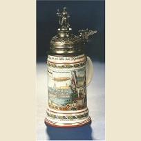 Немецкая коллекционная кружка с фигурной оловянной крышкой