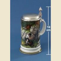 Керамическая пивная кружка с изображением сцен охоты