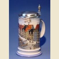 Пивная кружка с красочным изображением рынка Мюнхена