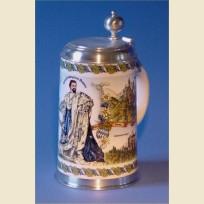 Фаянсовая литровая кружка с изображением короля Баварии Людвига II