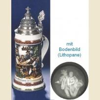 Немецкая литровая кружка с конусовидной крышкой, полупрозрачным дном и  изображением сценки в пабе