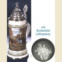 Кружка с конусовидной крышкой,  полупрозрачным дном и изображением всадников